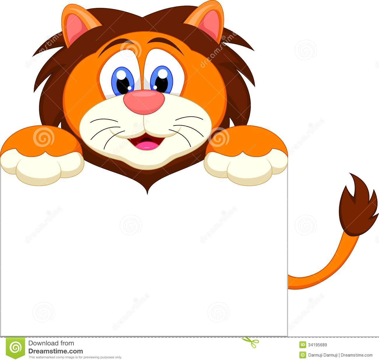 Cartoon Characters Cute : Cute lion cartoon character with blank sign royalty free
