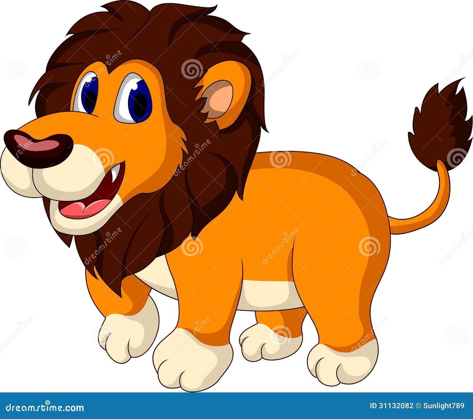 cute lion cartoon walking stock photography   image 31132082