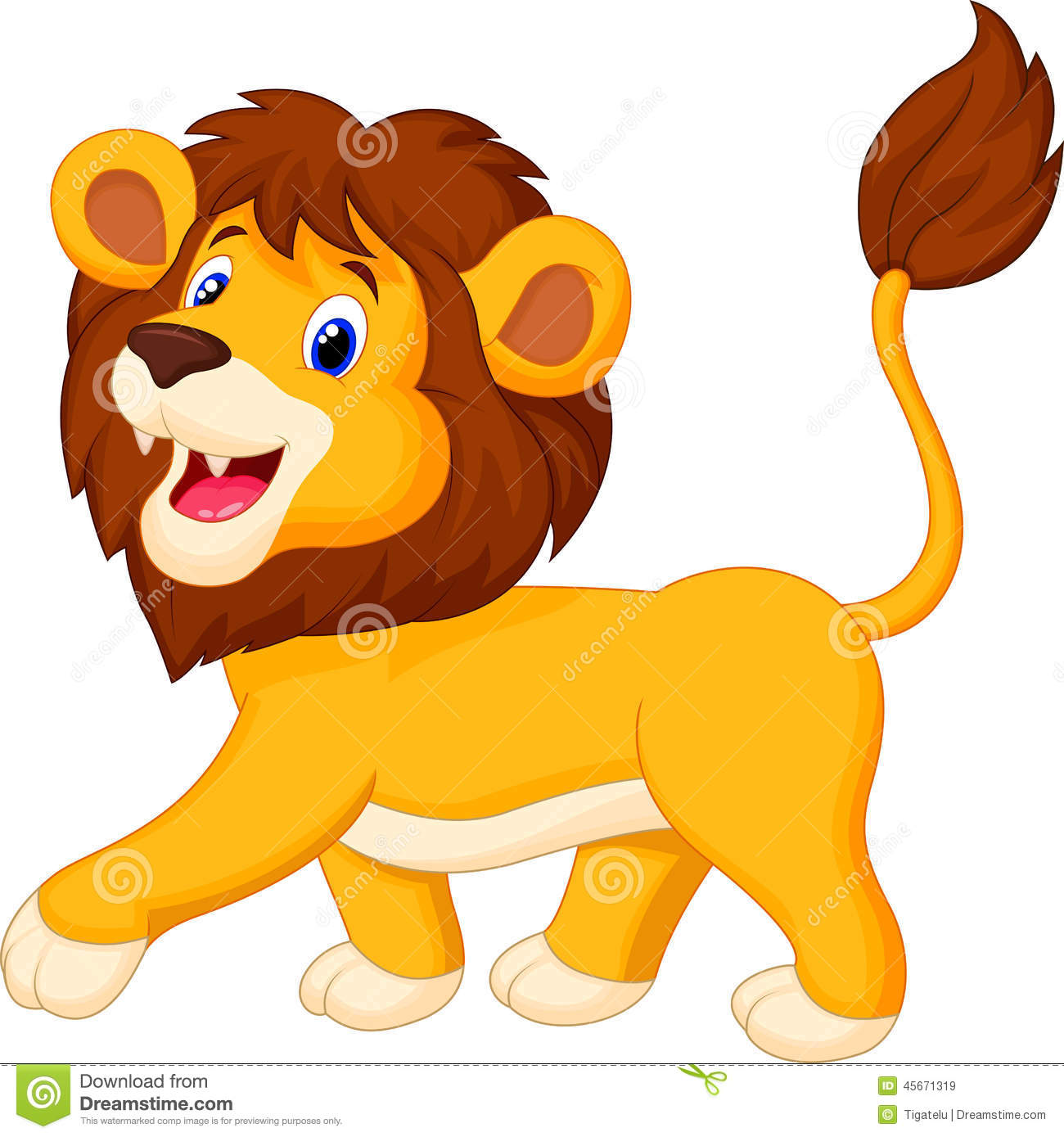 cute lion cartoon walking stock vector image 45671319