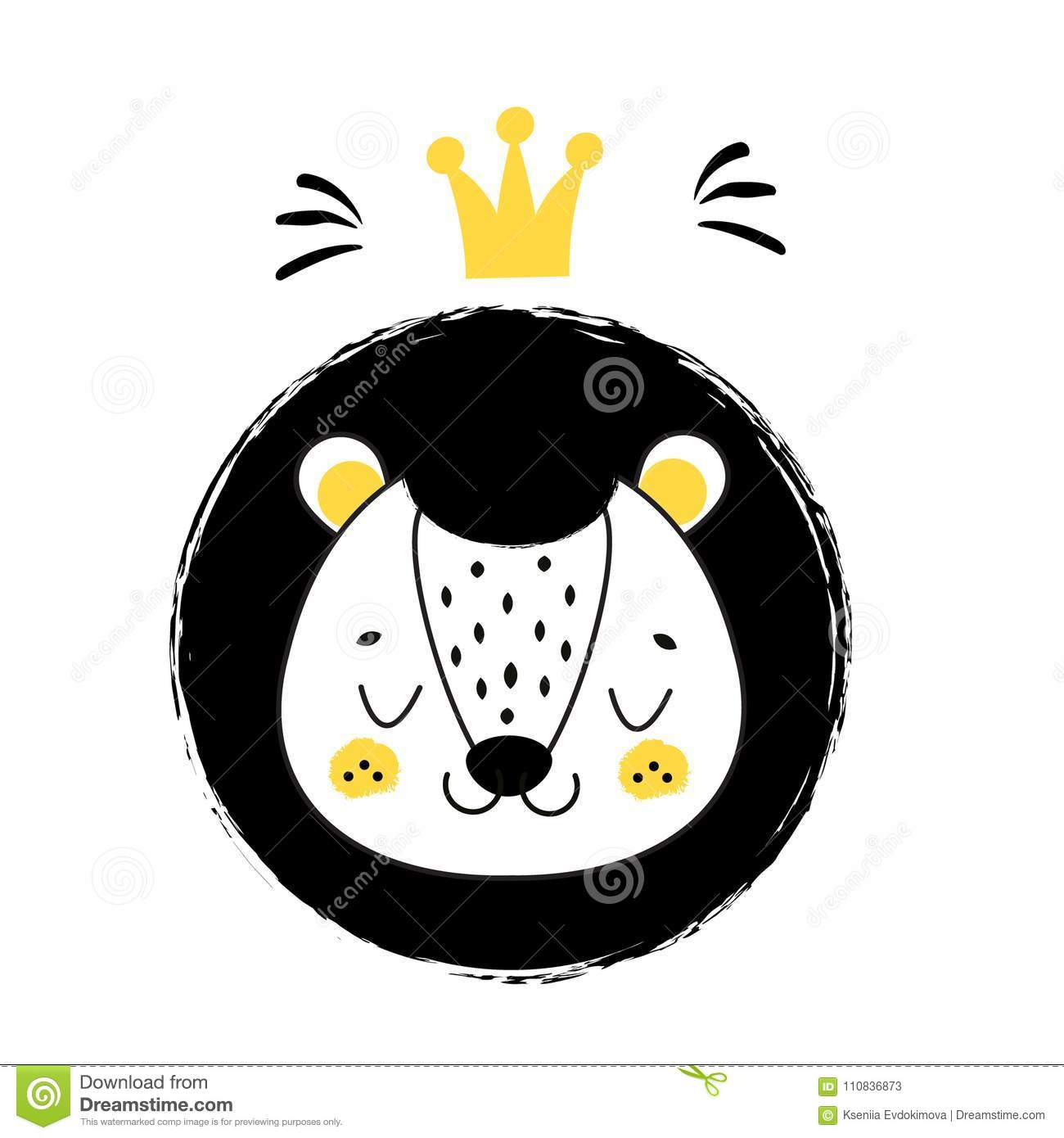 1c1c536f Cute Lion Face. Hand Drawn Lion With Crown In Scandinavian Style ...