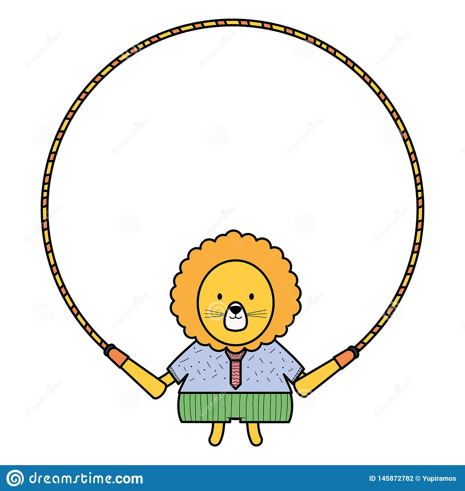 Cute lion jumping rope. Vector illustration design stock photography