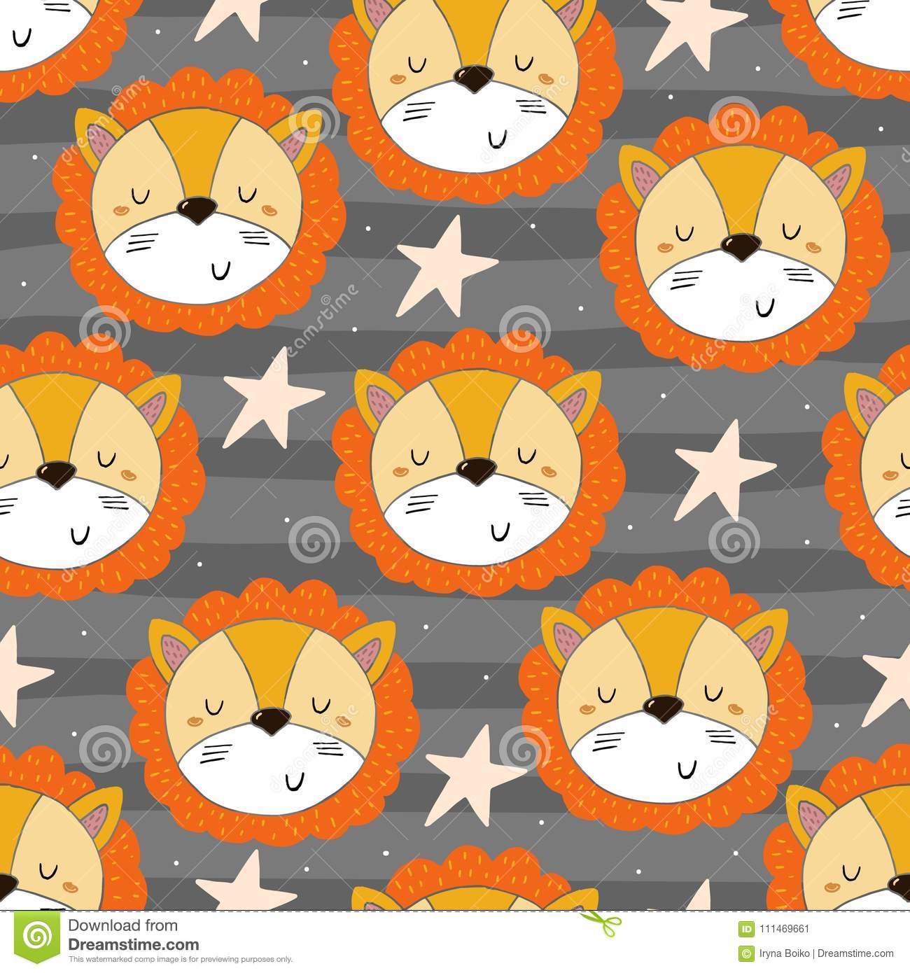 Cute Lion Pattern Print For Kids Stock Vector - Illustration of ...
