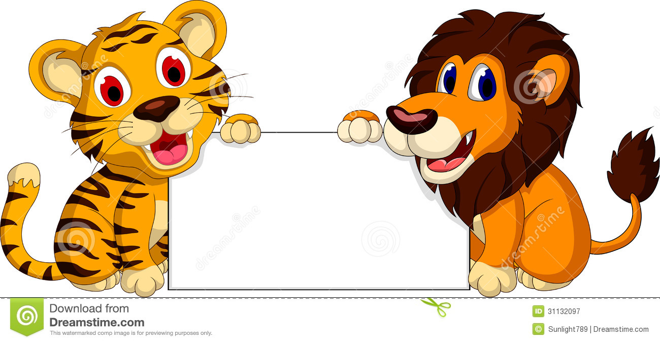 cute lion and tiger cartoon with blank sign stock illustration