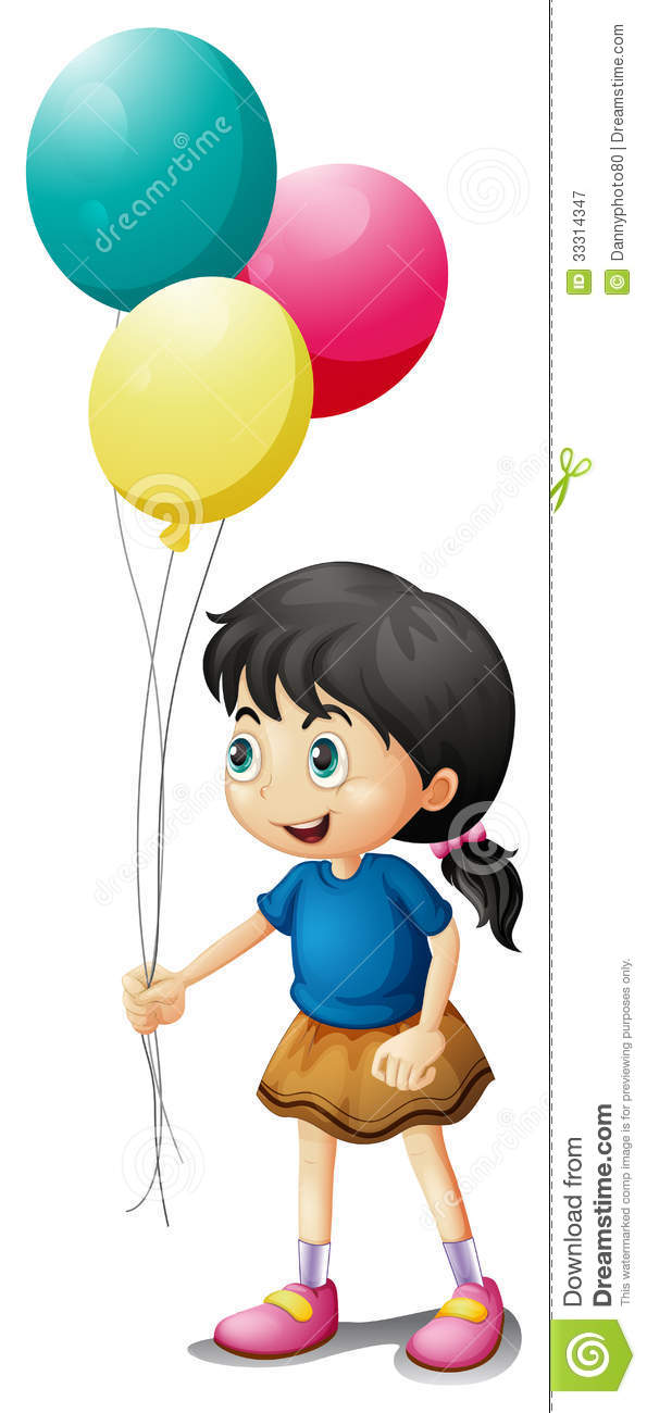 A Cute Litte Girl Holding Balloons Royalty Free Stock