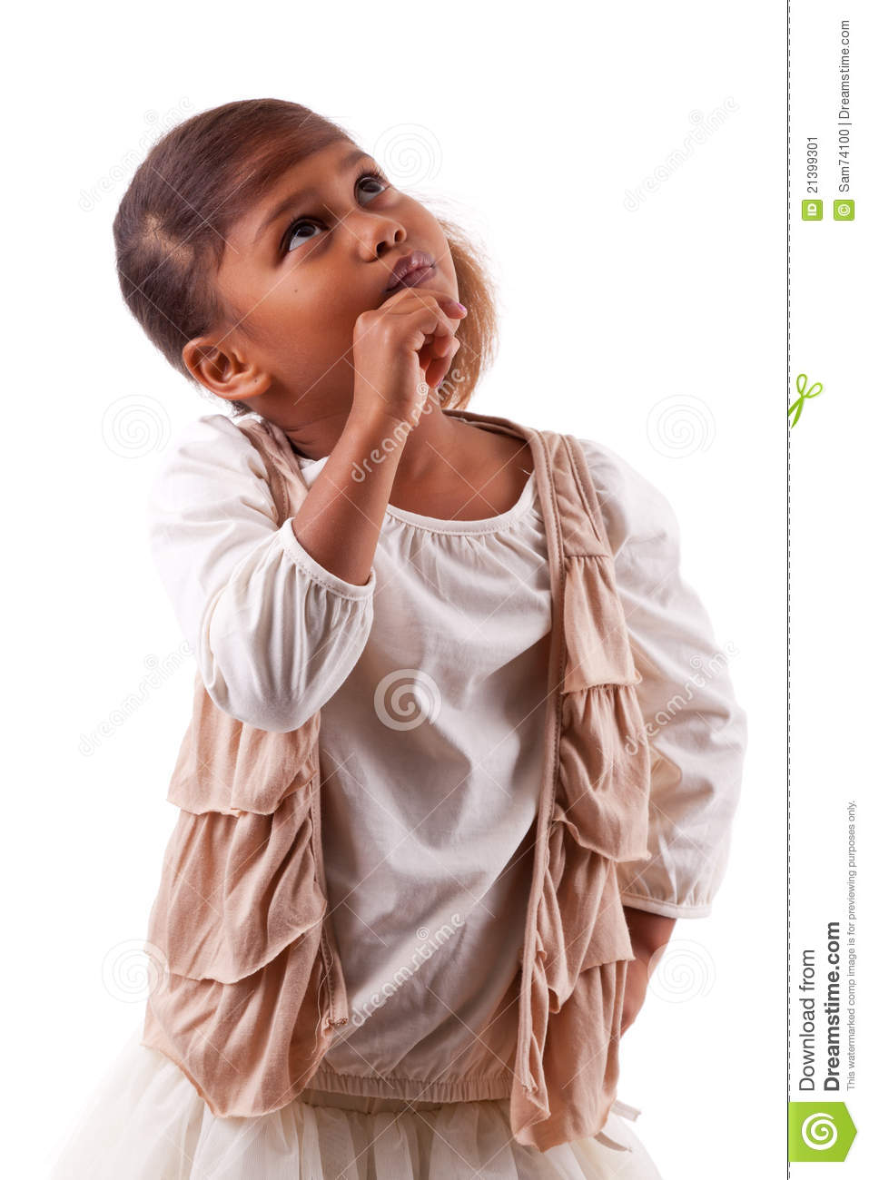 c8e481543 Cute Little African Asian Girl Thinking Stock Image - Image of ...