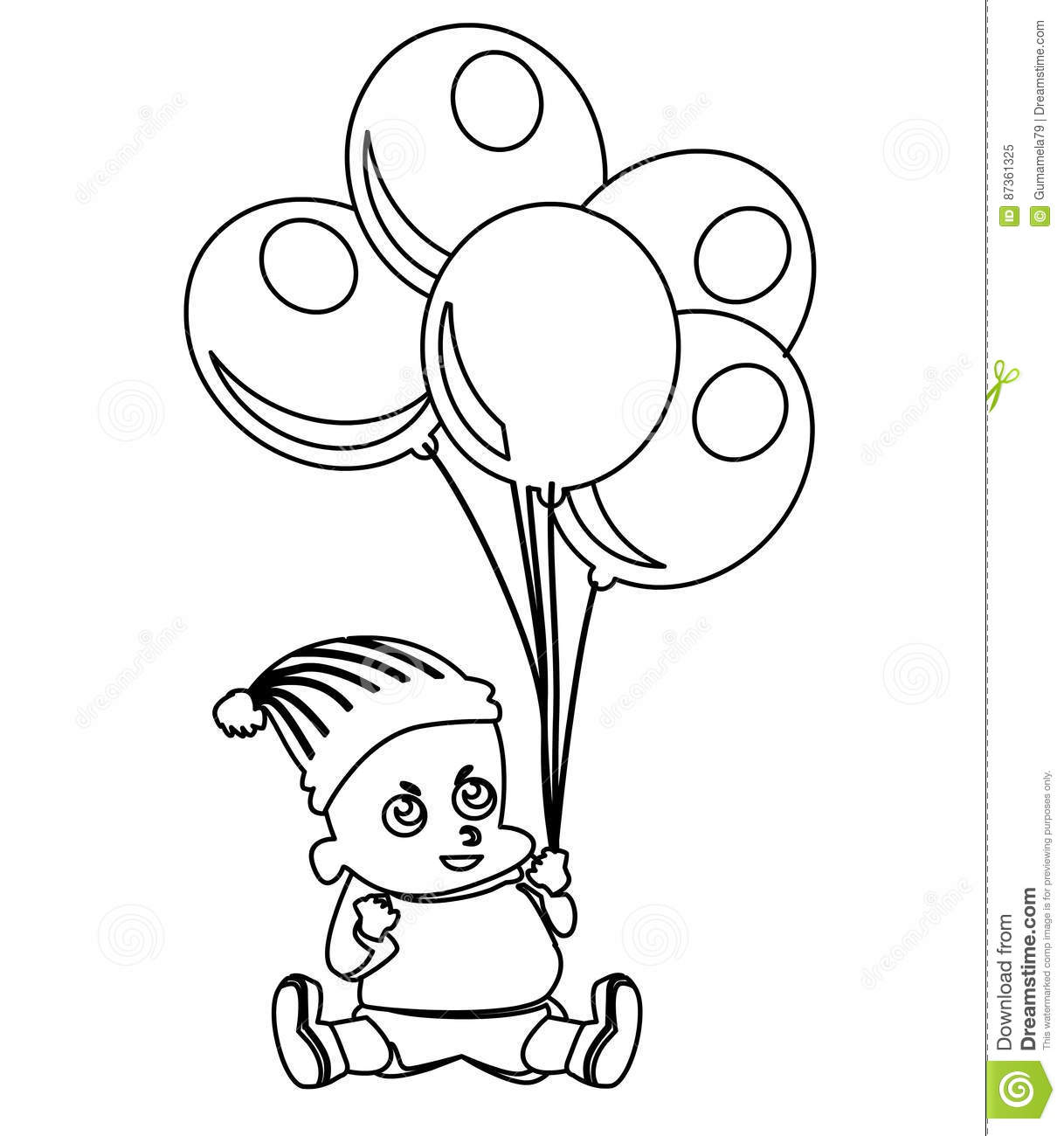 cute little baby with balloons coloring page stock illustration