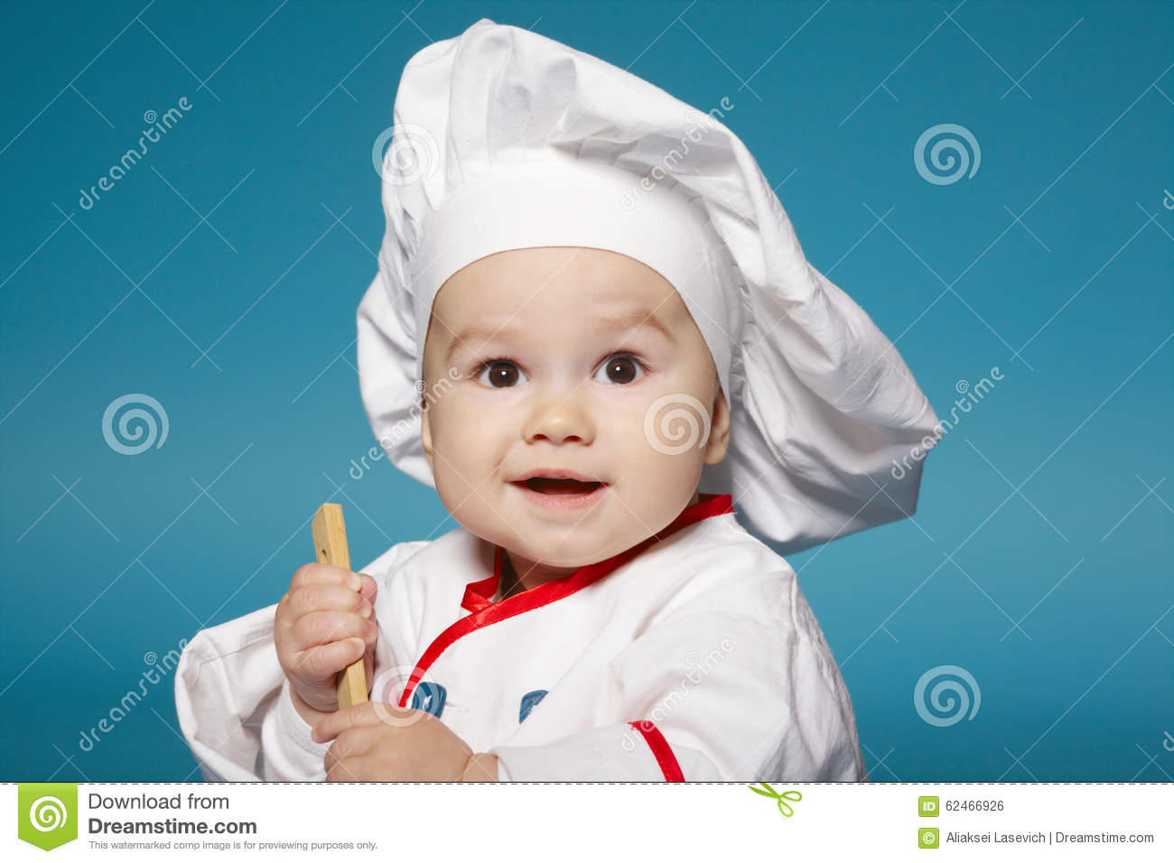 Cute little baby with chef hat