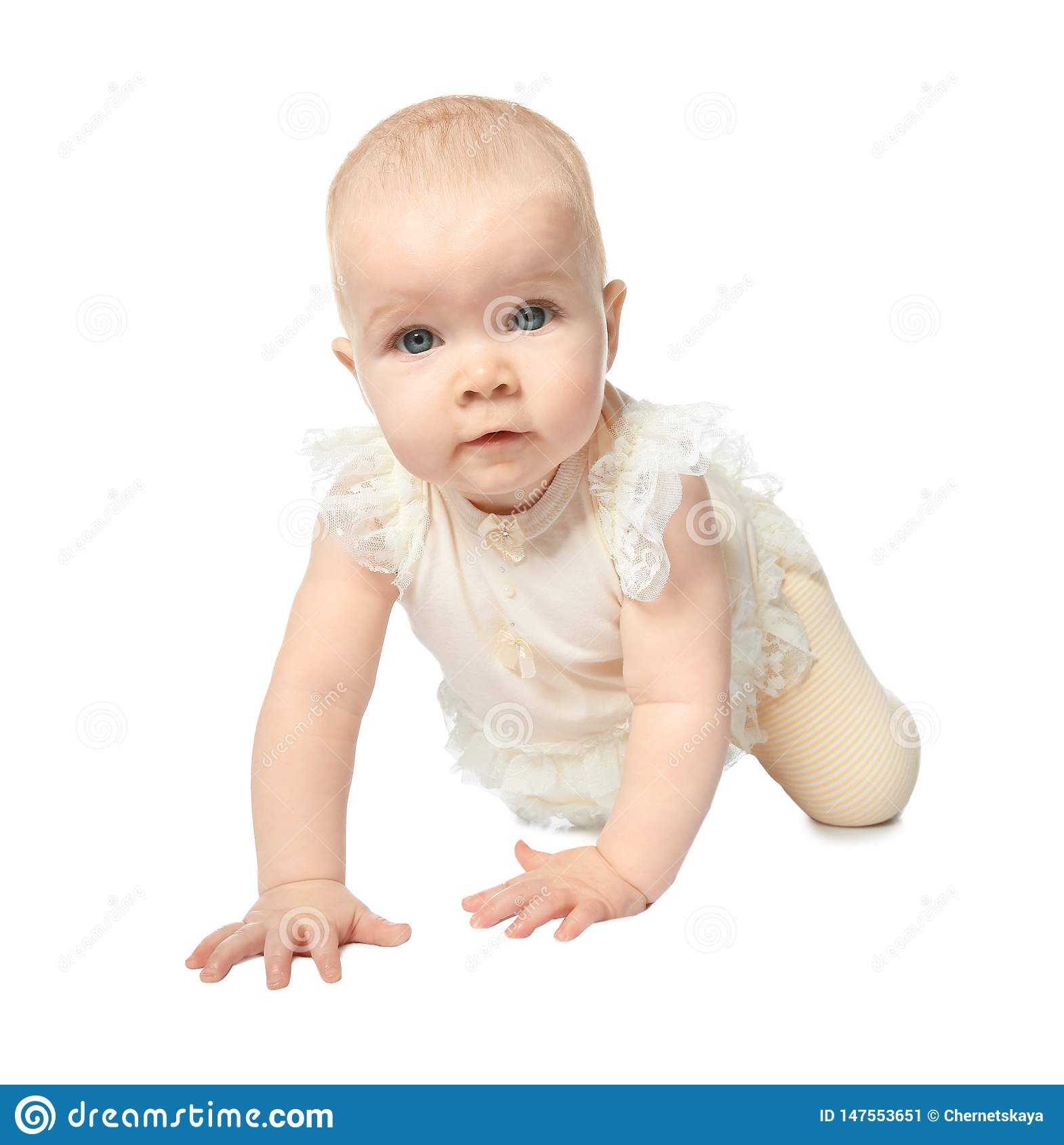 Cute little baby crawling on white