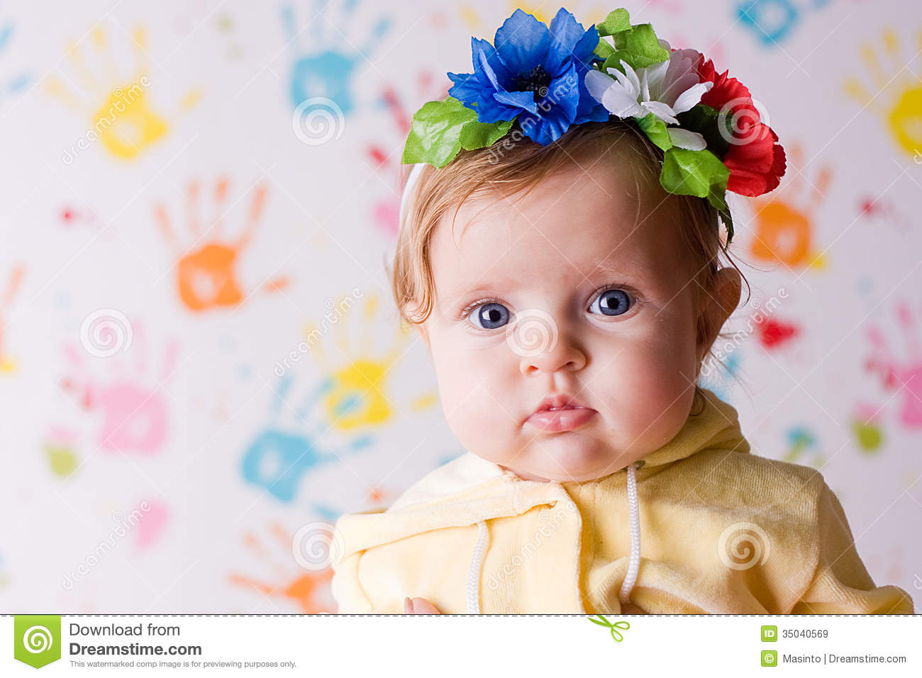cute little baby with flowers stock image - image of garland, small