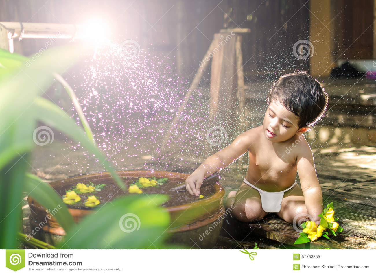 cute little baby girl bathing stock image - image of home, garden