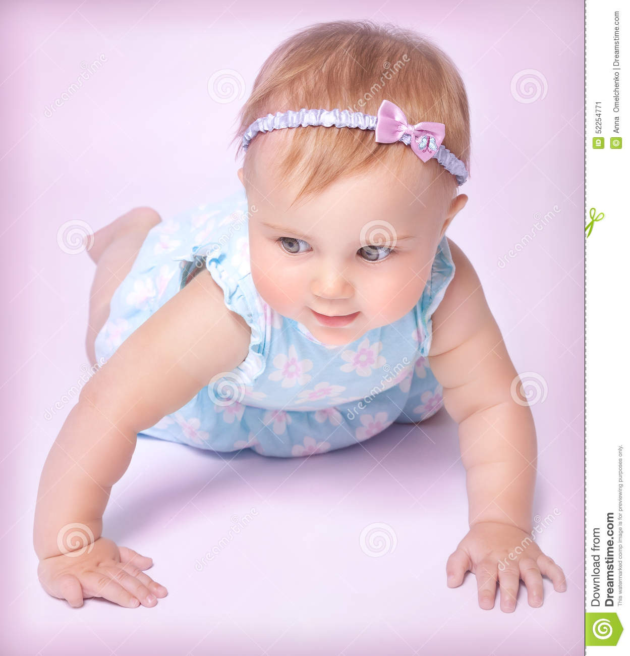 Cute Little Baby Girl Stock Photo Image 52254771