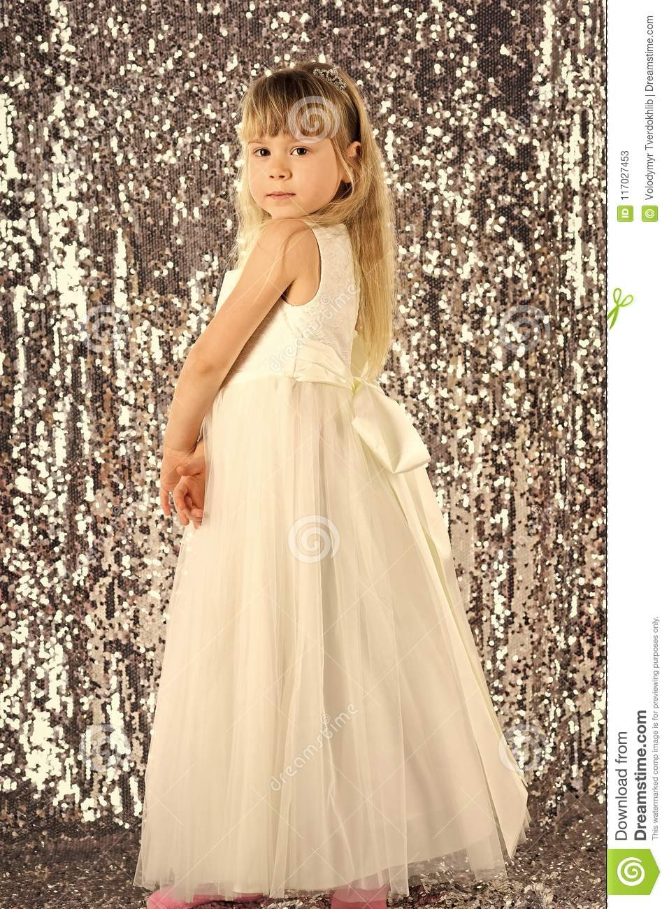 Cute Little Baby Girl Fashion Pretty Model Blonde Curly Lady Hair Funny Child Birthday Party Fun Children Room Stock Image Image Of Hairdresser Face 117027453
