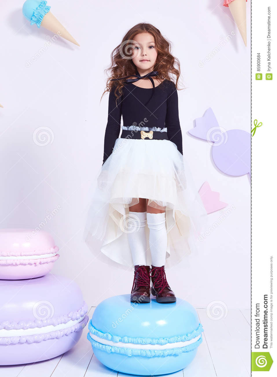 abed9a1e0 Cute little baby girl fashion pretty model dark blonde curly lady hair  funny child birthday party fun children room decoration candy bar sweet  play toy wear ...