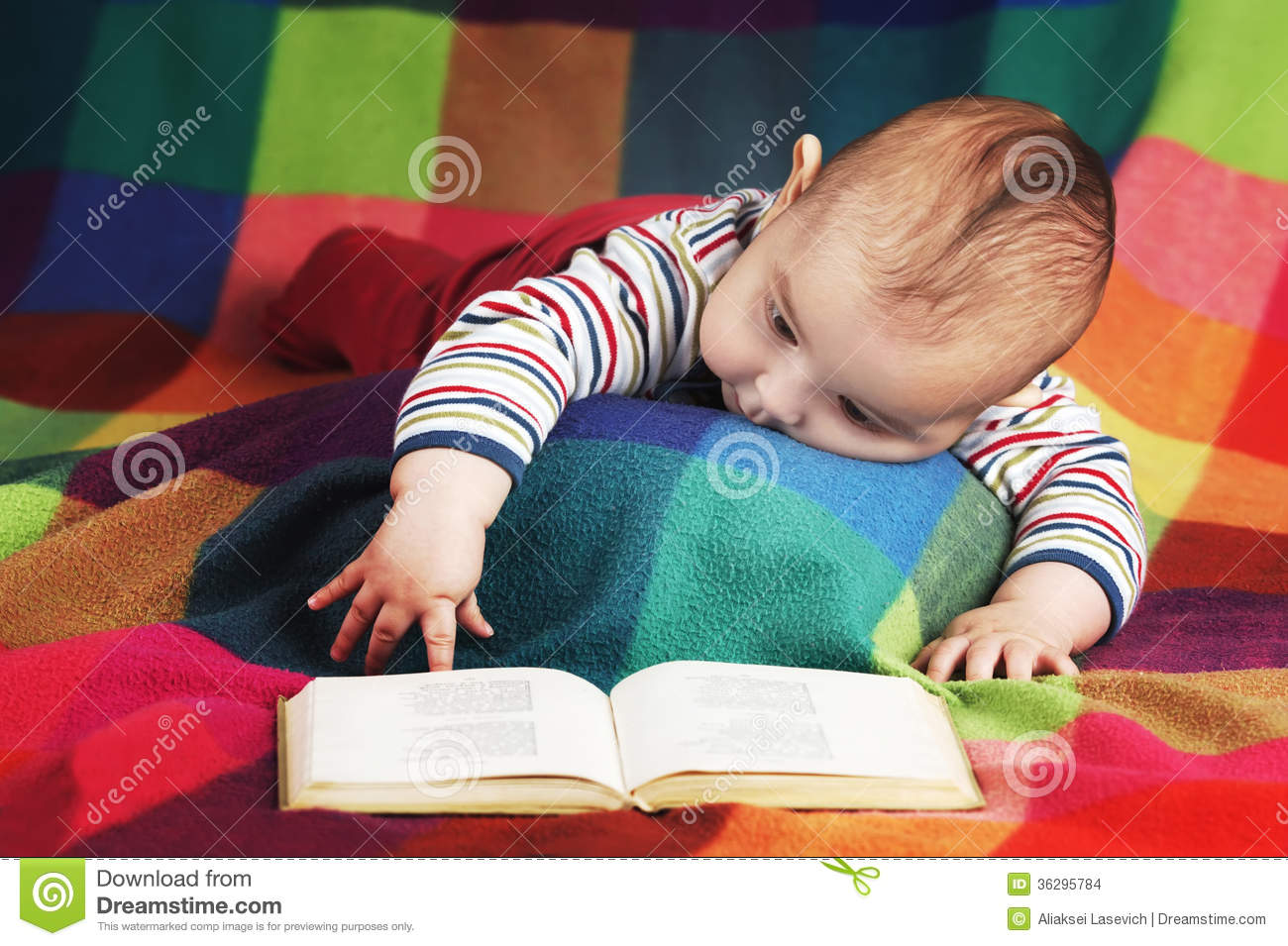 Cute Little Baby Reading Book Stock Photo Image Of Healthy