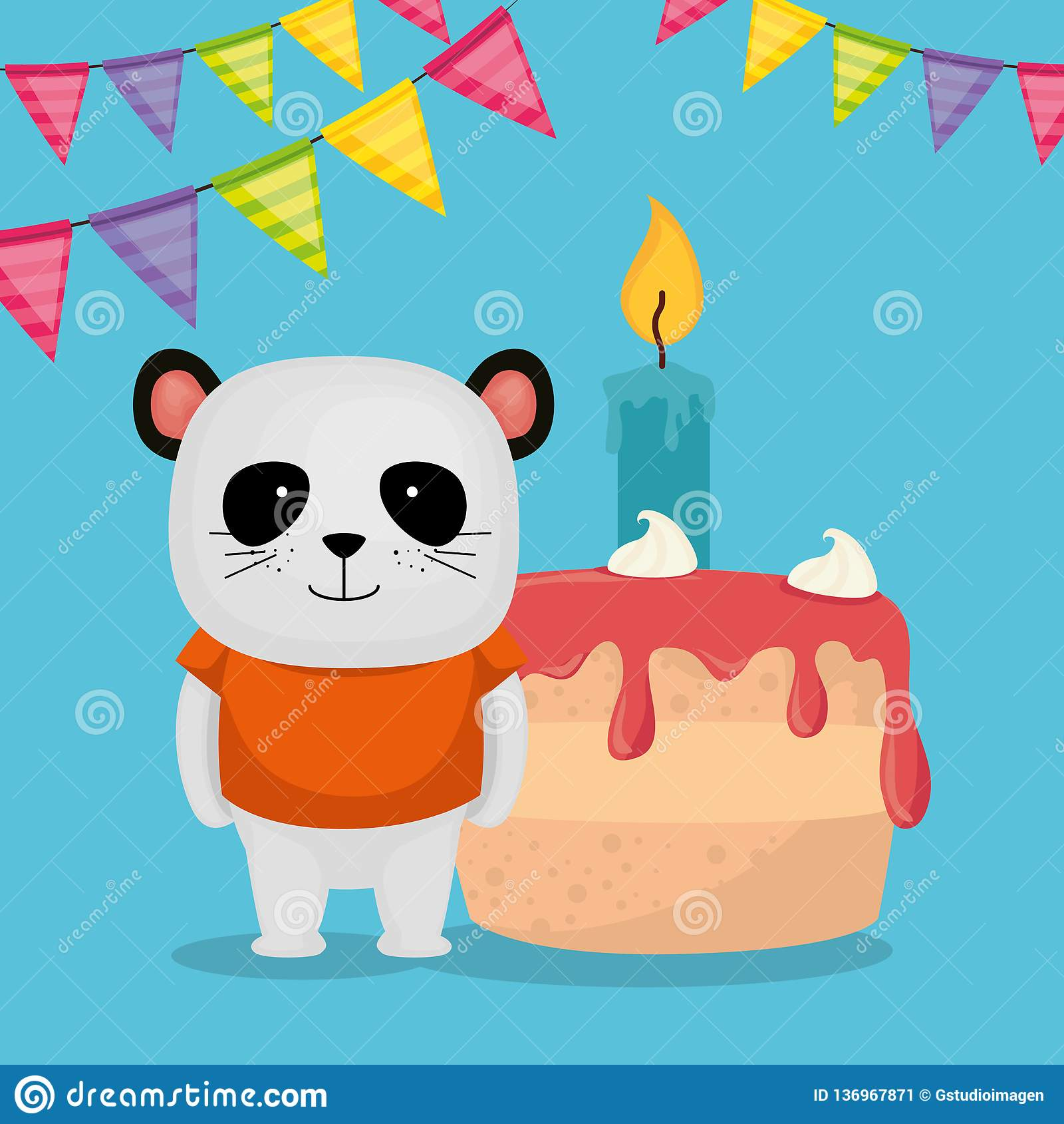 Cute And Little Bear Panda With Cake Stock Vector Illustration Of