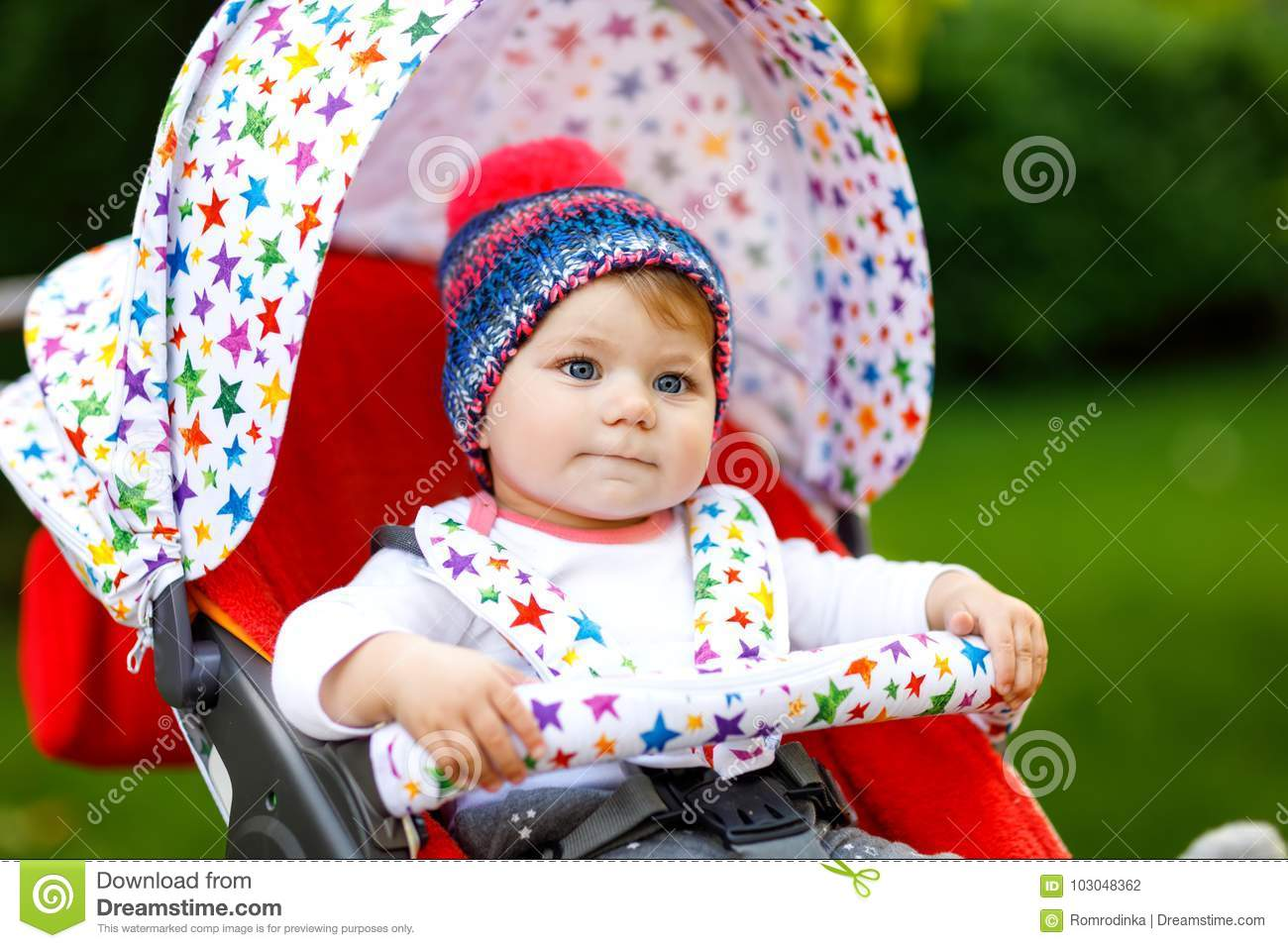 652f62ee3275 Cute Little Beautiful Baby Girl Of 6 Months Sitting In The Stylish ...