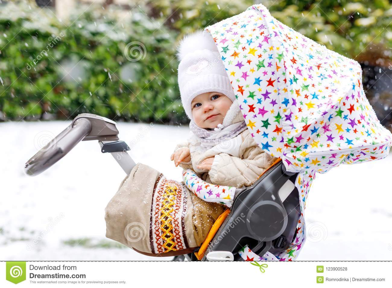 666159760f0e Cute Little Beautiful Baby Girl Sitting In The Pram Or Stroller On ...
