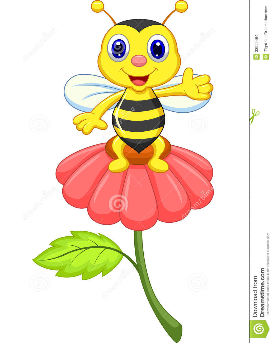 Cute Little Bee Cartoon On Red Flower Stock Images - Image: 33992464