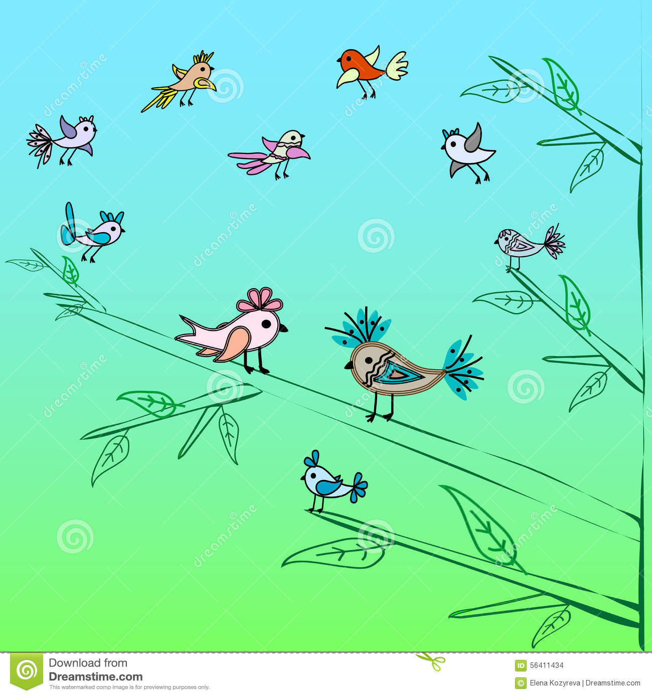 Cute little birds family tree nature background stock - Family tree desktop wallpaper ...