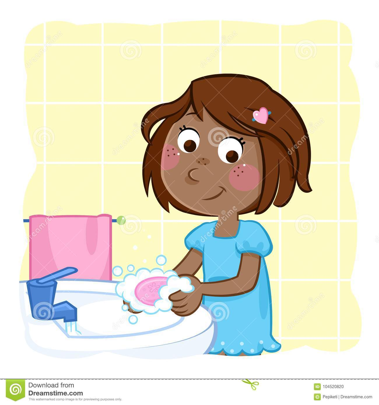Cute little black girl washing hands with pink soap