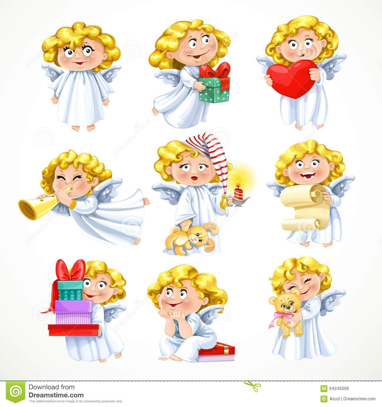 Little Angel Toys : Cute little blond angel with gifts and toys stock vector