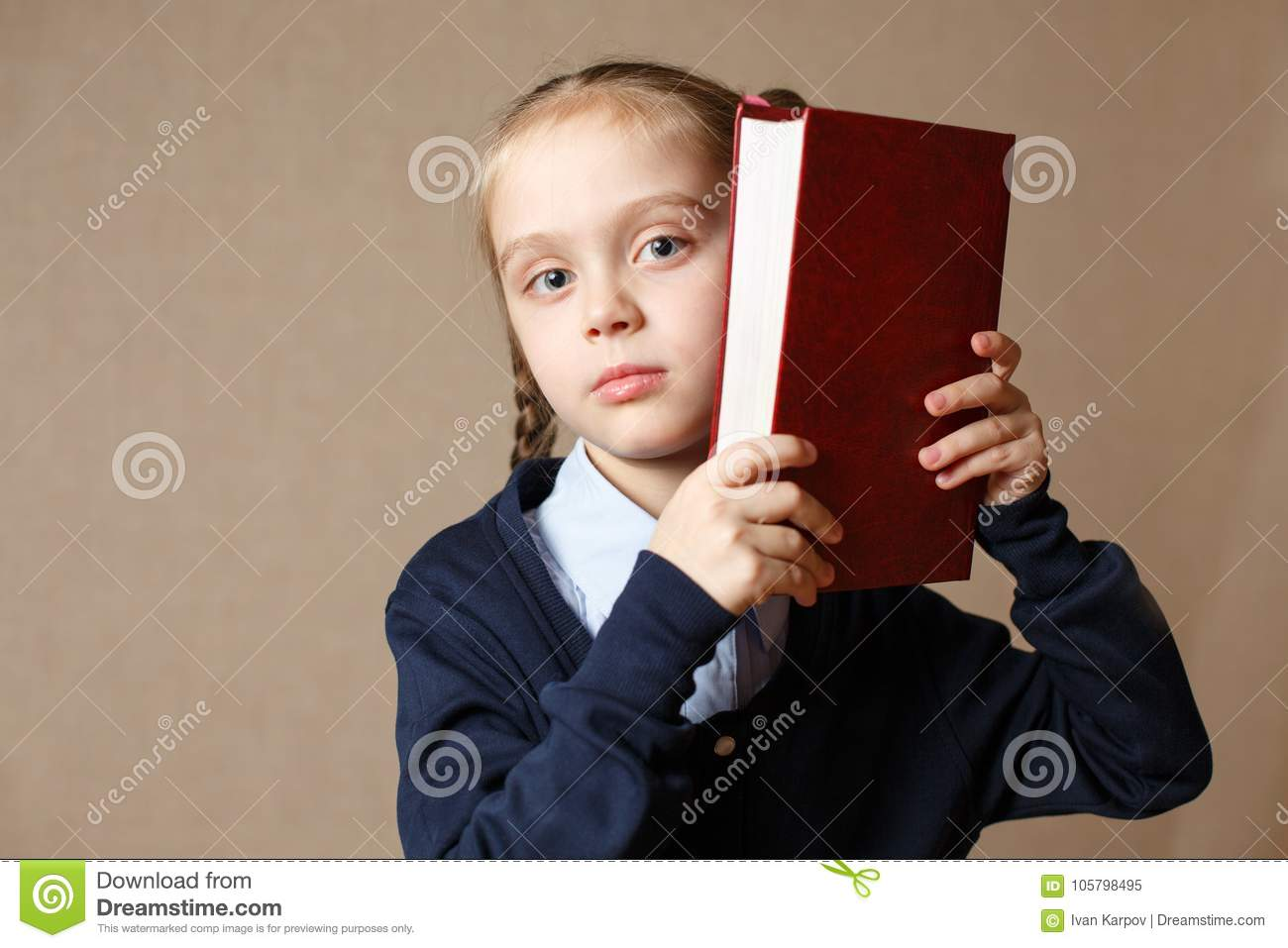 Cute little with book