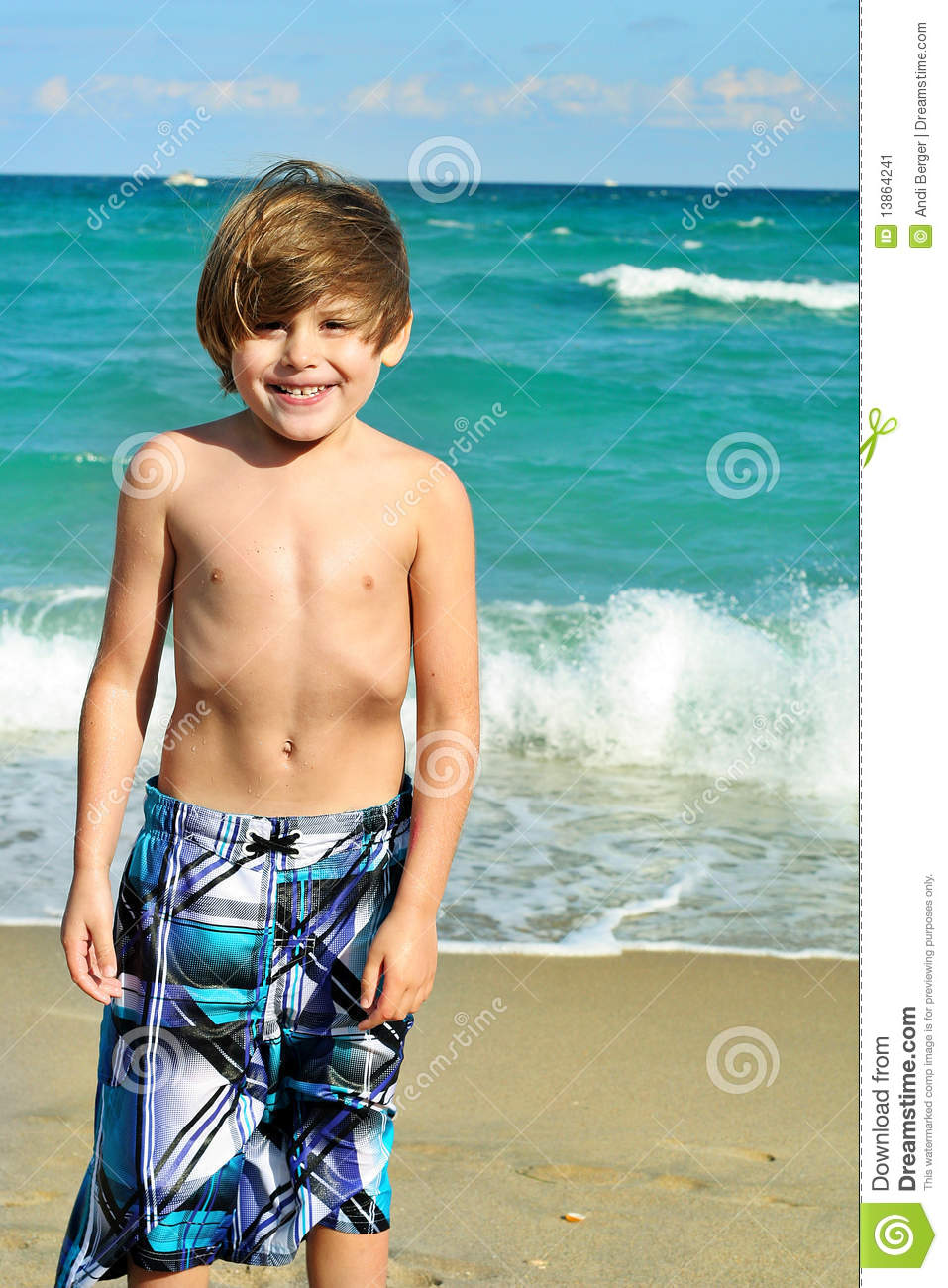 Cute Little Boy At The Beach Stock Image - Image of ...