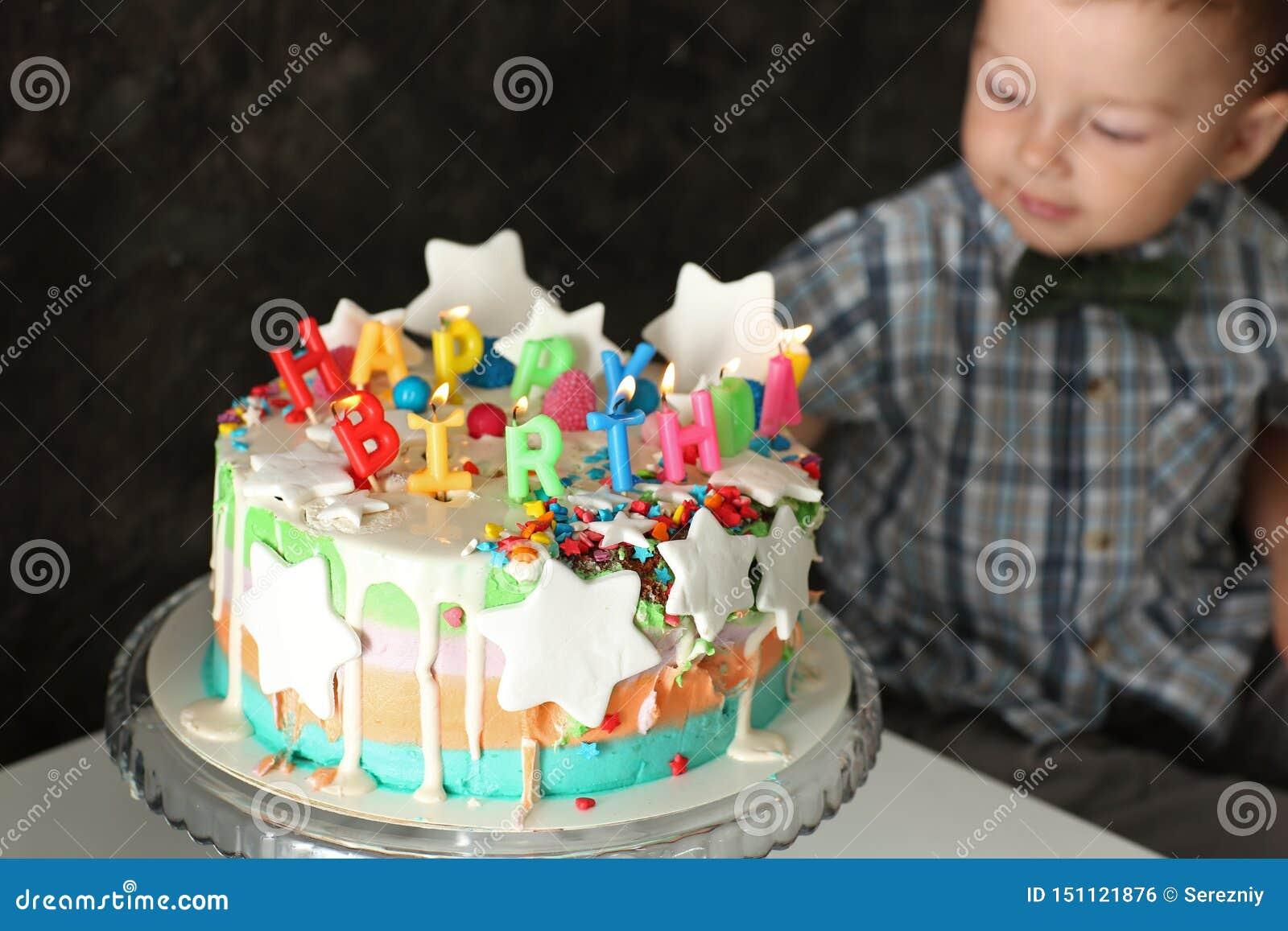 Astounding Cute Little Boy With Birthday Cake Near Grey Wall Stock Photo Funny Birthday Cards Online Inifofree Goldxyz