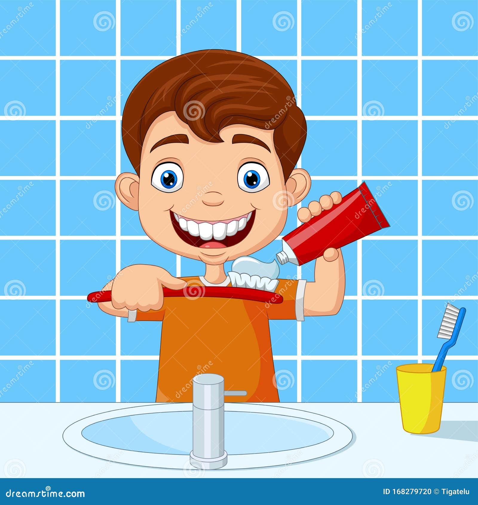 Cartoon boy having bath washing hair Royalty Free Vector