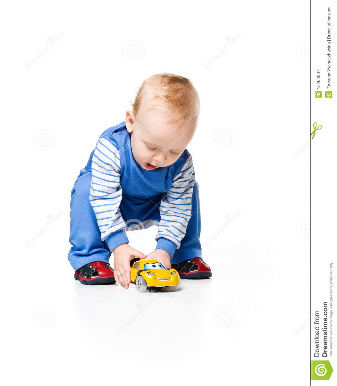 Little Boy With Toy Car : Cute little boy with car toy stock photo image