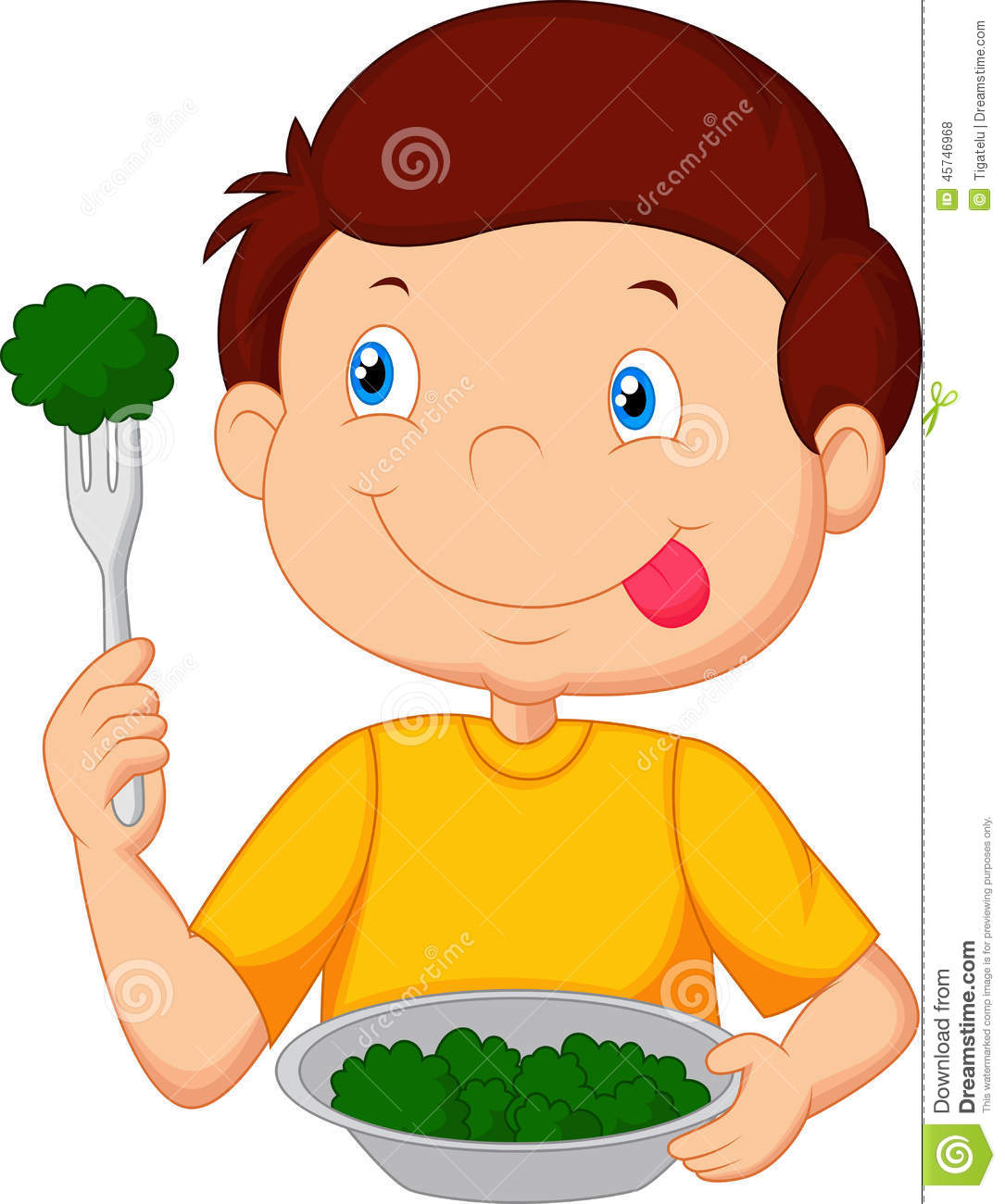 Cute Little Boy Cartoon Eats Vegetable Using Fork Stock