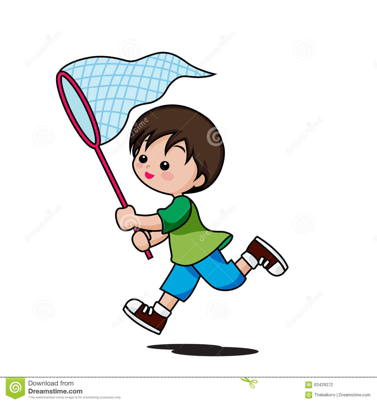 Cute little boy cartoon running to catch insects isolated on white background