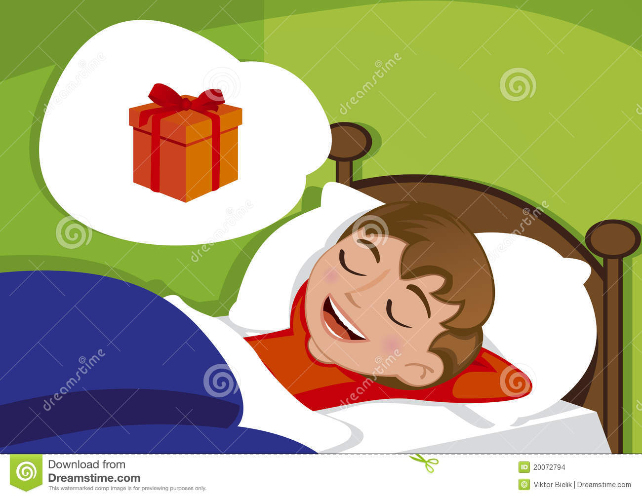 Cute Little Boy Dreaming About Birthday Present