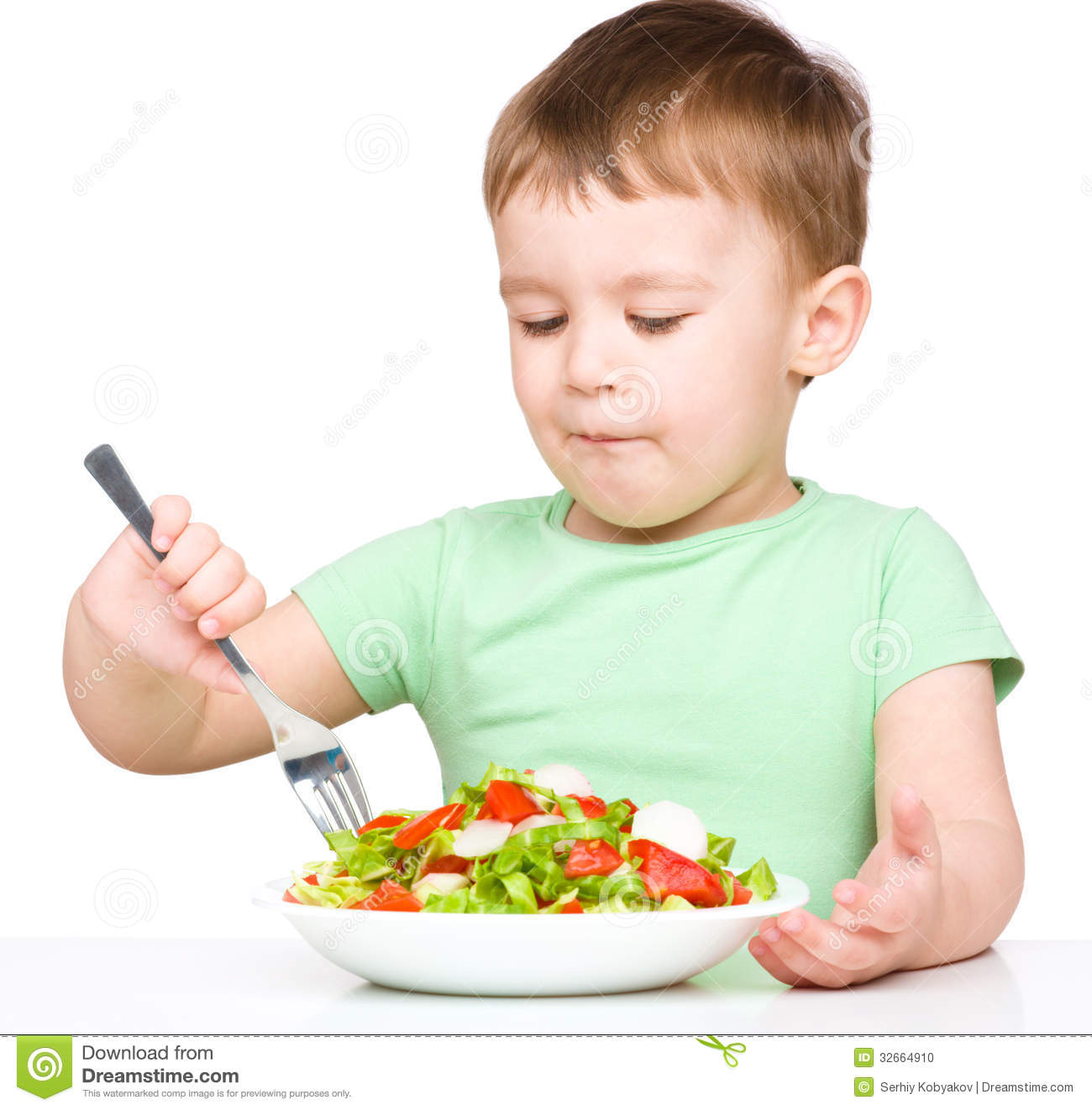 cute little boy is eating vegetable salad stock photo clip art fork and spoon clipart for kids labels