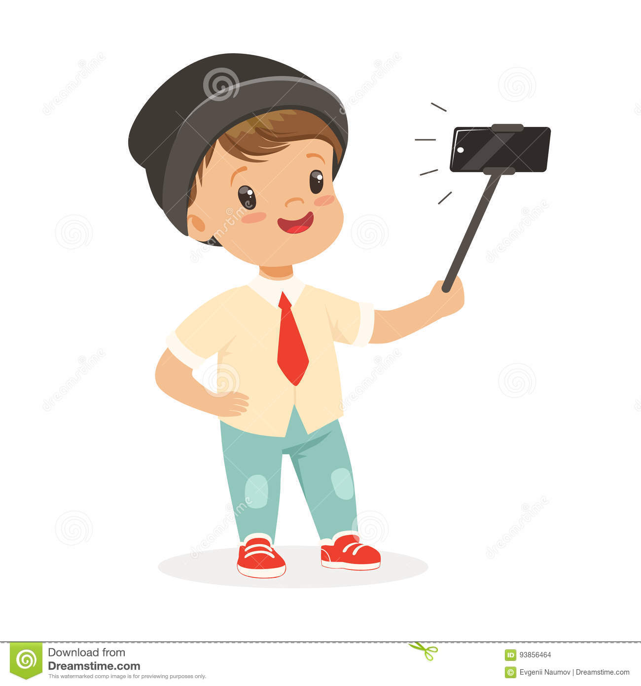 cute little boy in fashionable clothes taking selfie with a selfie stick colorful cartoon. Black Bedroom Furniture Sets. Home Design Ideas