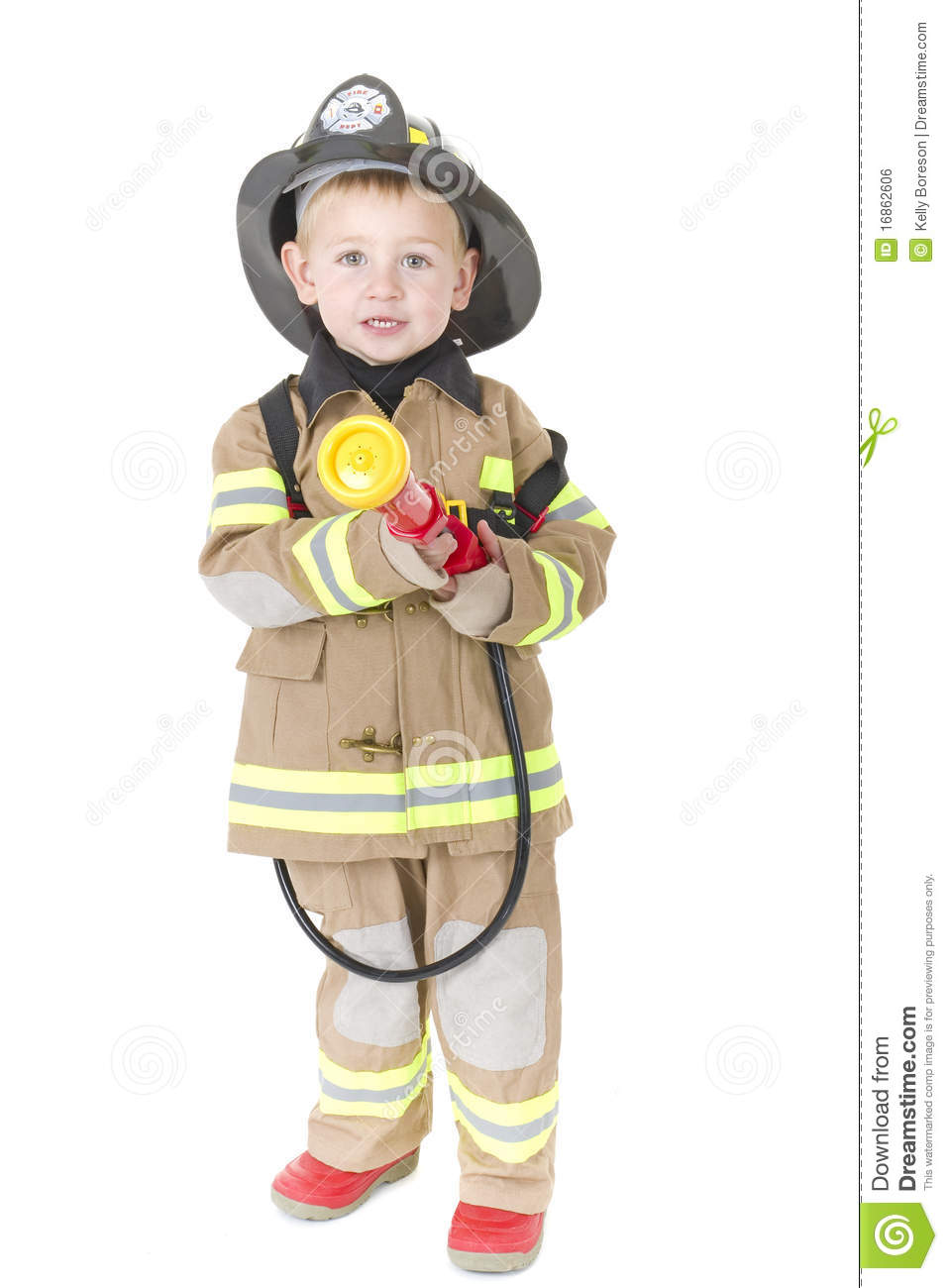 Cute Little Boy In Fireman S Outfit Stock Photo Image