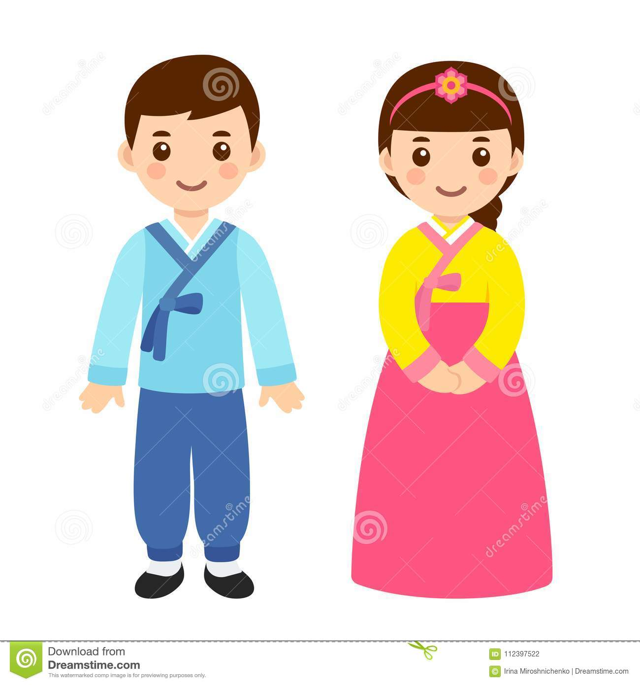 Traditional Korean Costumes Stock Vector Illustration Of