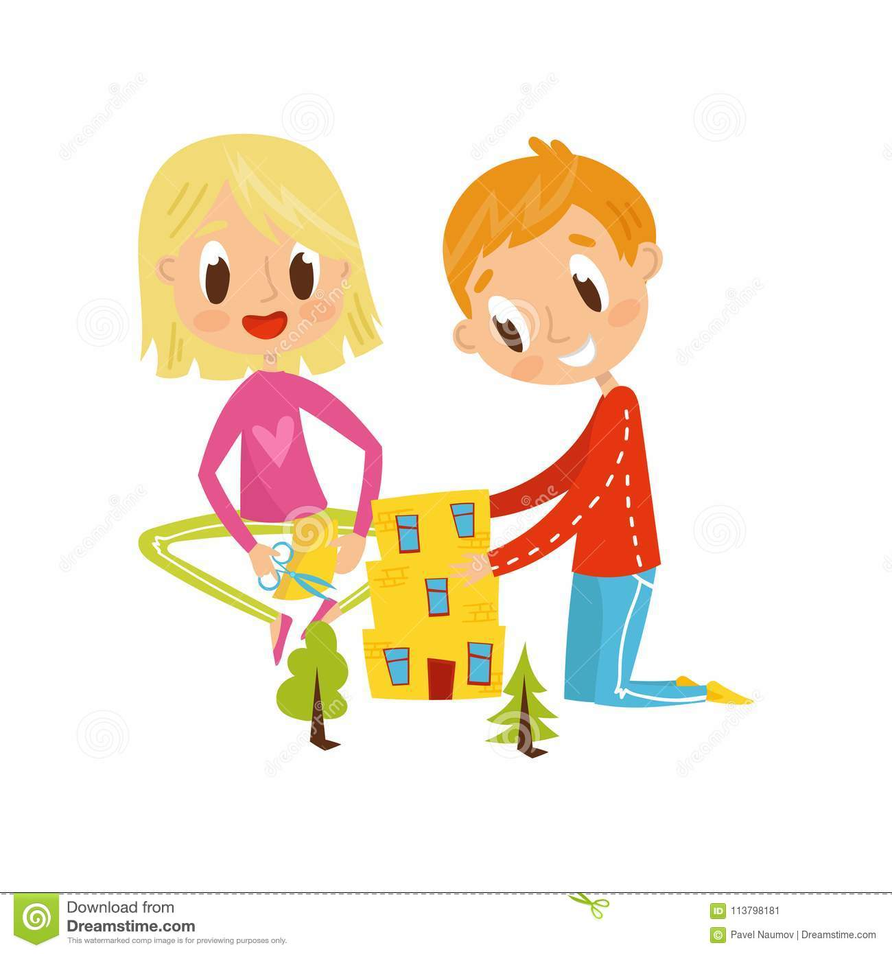 Cute Little Boy And Girl Cutting Application Details Kids