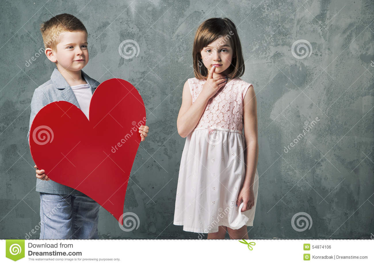 Young Beautiful Girl Giving Heart To Lovely Boy Stock Illustration ...