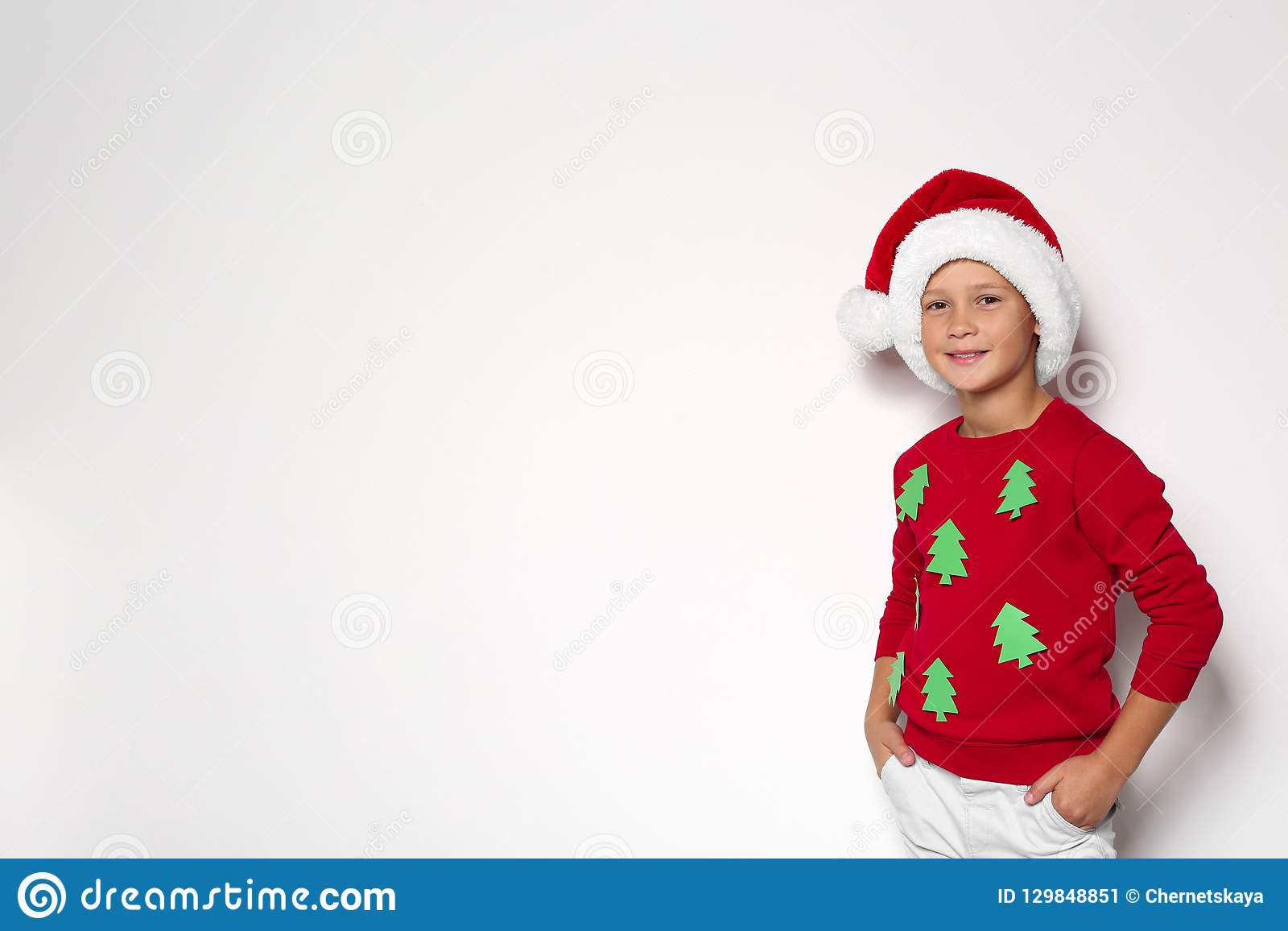 Cute Little Boy In Handmade Christmas Sweater Stock Image Image Of