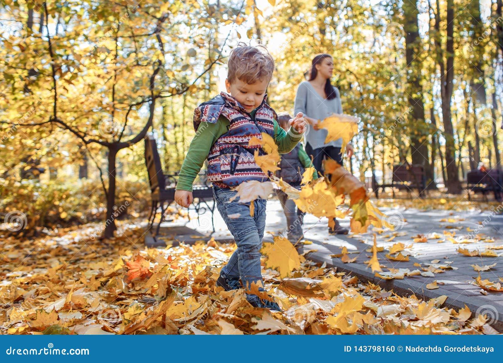 A cute little boy having fun in the park in autumn