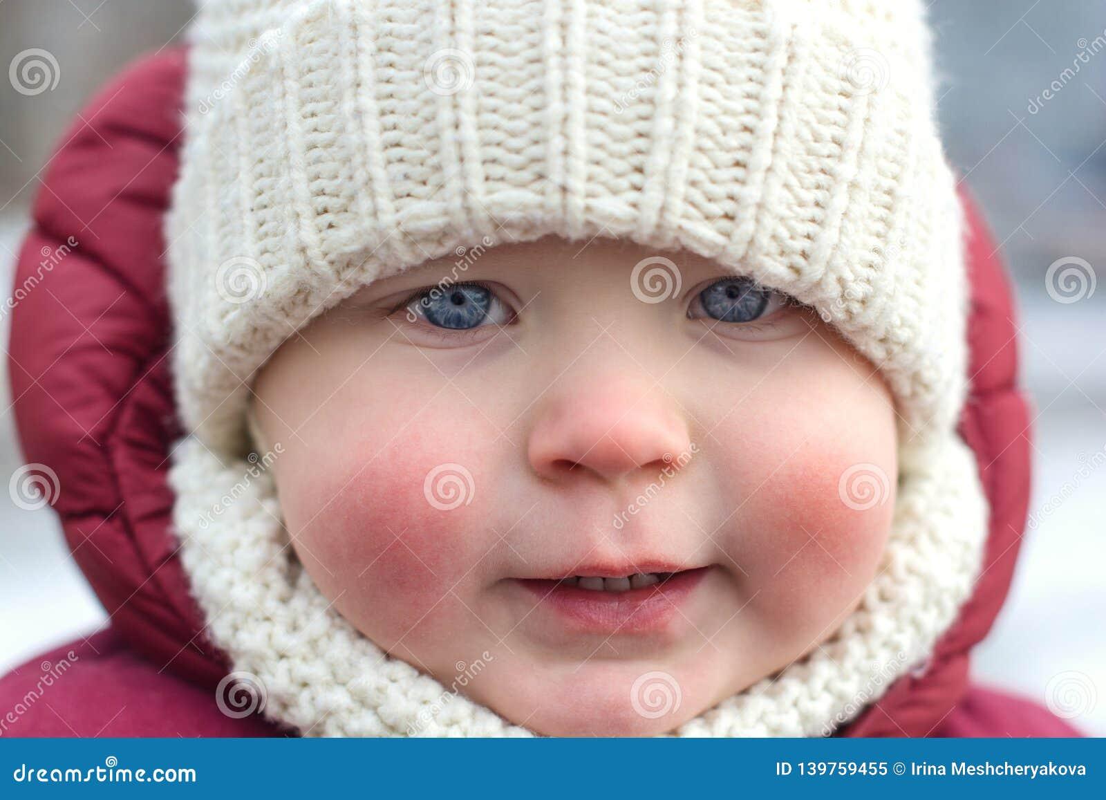 Cute Little Boy, Kid With Frozen Pink Cheeks In Winter ...