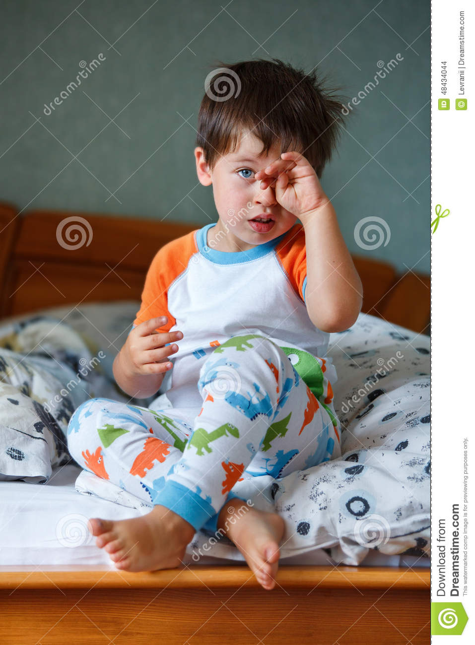 Cute Little Boy In Pajamas Stock Photo - Image: 48434044
