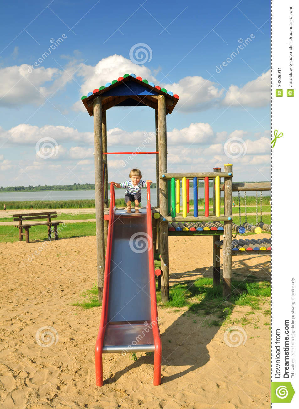 Cute little boy playing in the playground