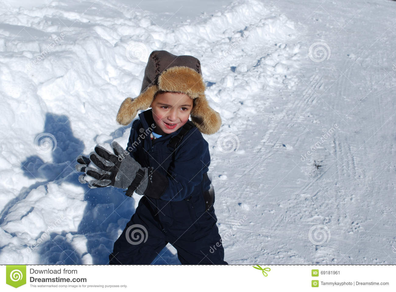 d34996259 Cute Little Boy Playing In The Snow Outdoors. Stock Image - Image of ...