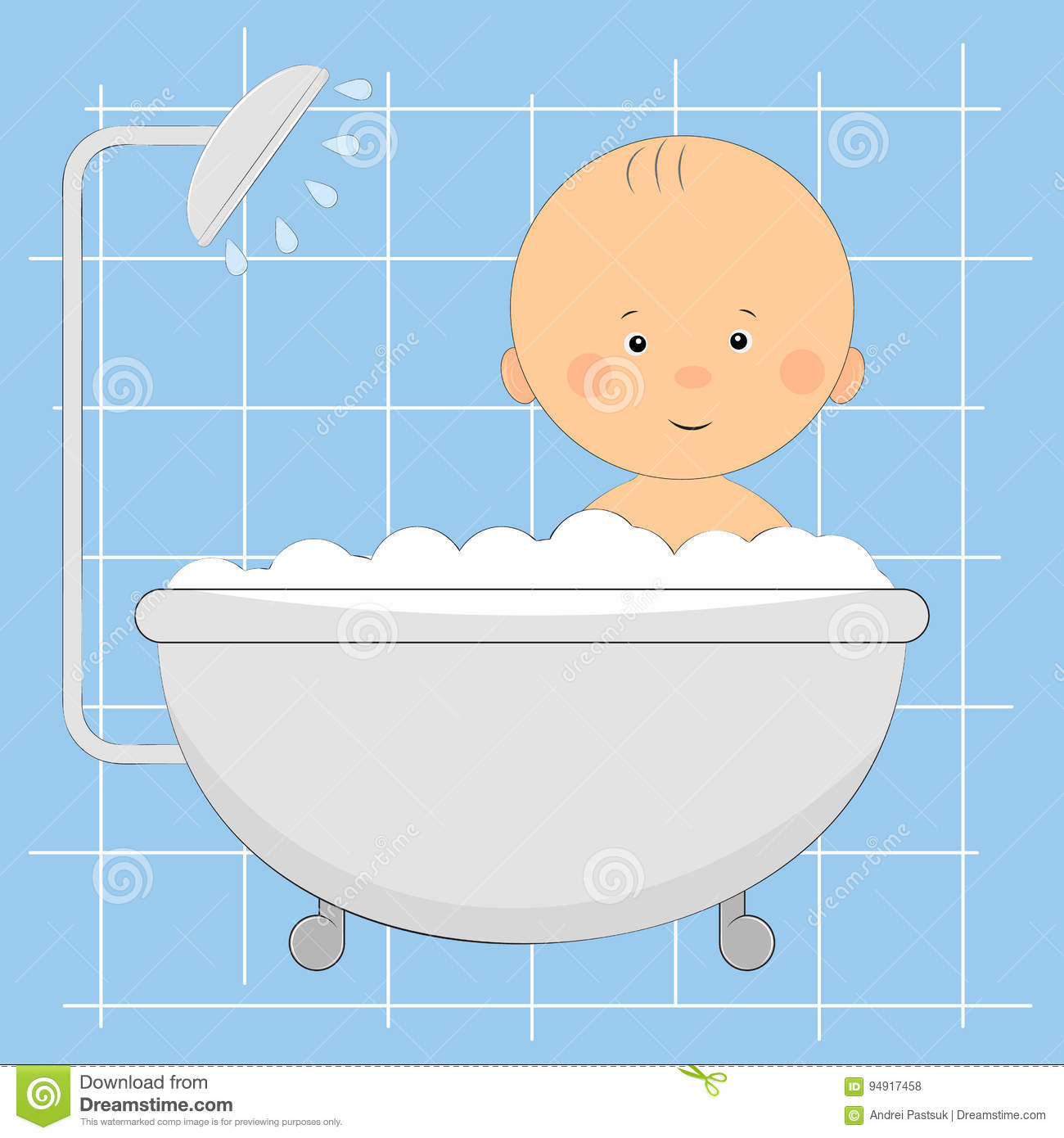 Cute Little Boy In The Shower. Stock Vector - Illustration of clip ...