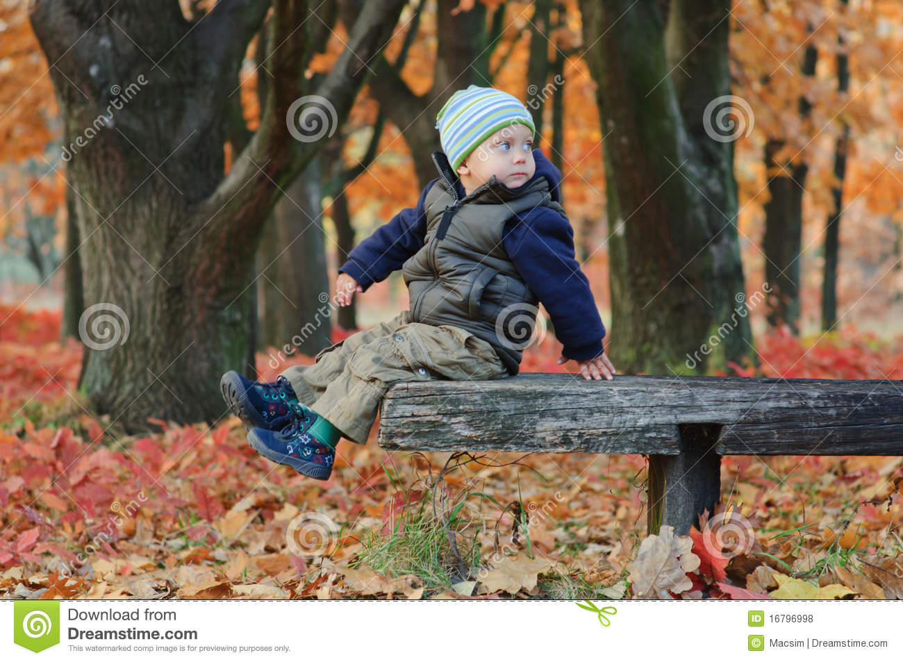 Cute Little Boy Sitting On A Bench Royalty Free Stock Photos - Image ...