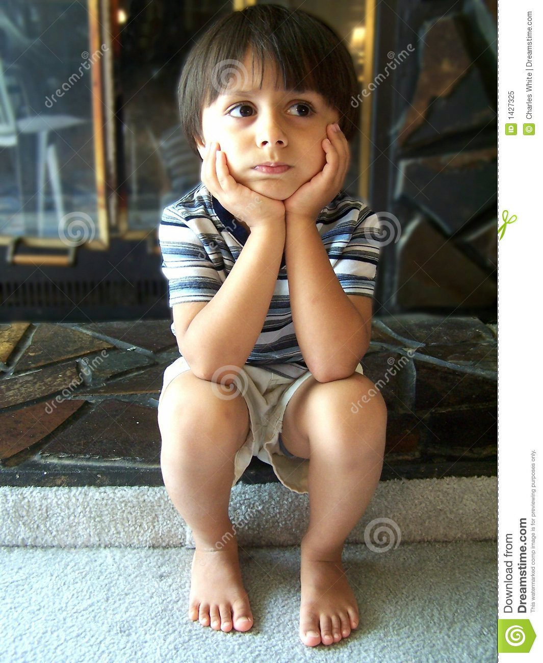 Cute Little Boy Thinking Royalty Free Stock Photo