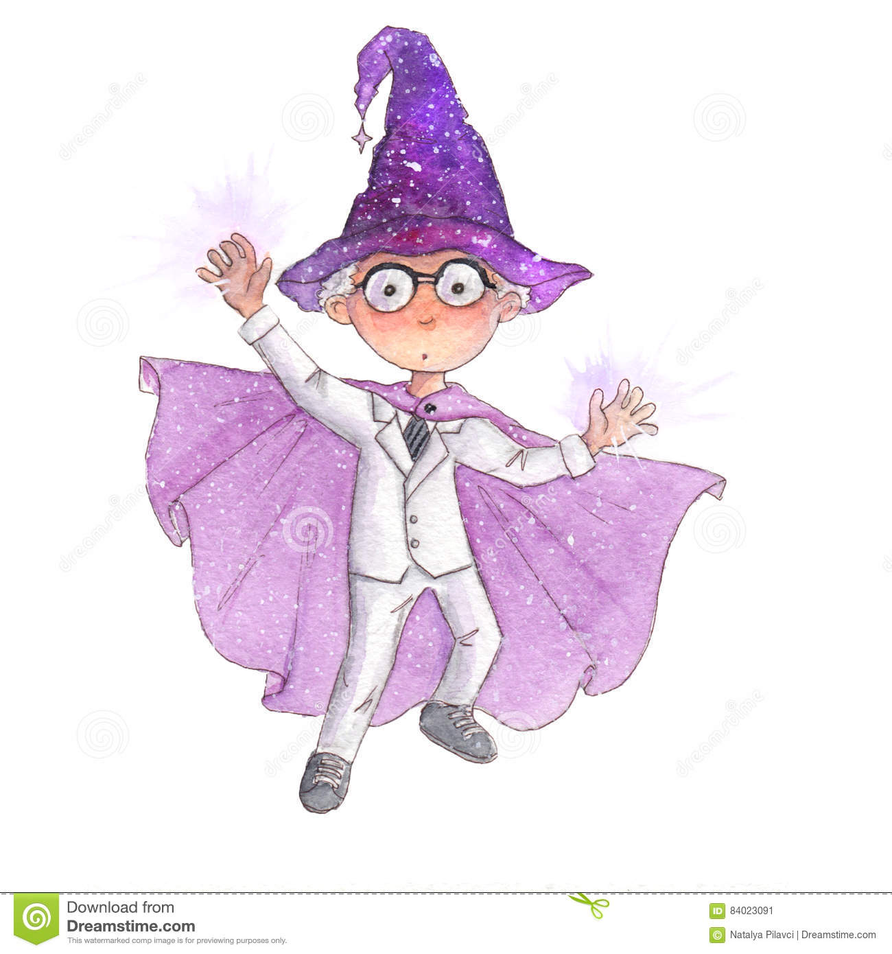 Cute Little Boy With White Hair Is Pretending He Is A Wizard Doing ...
