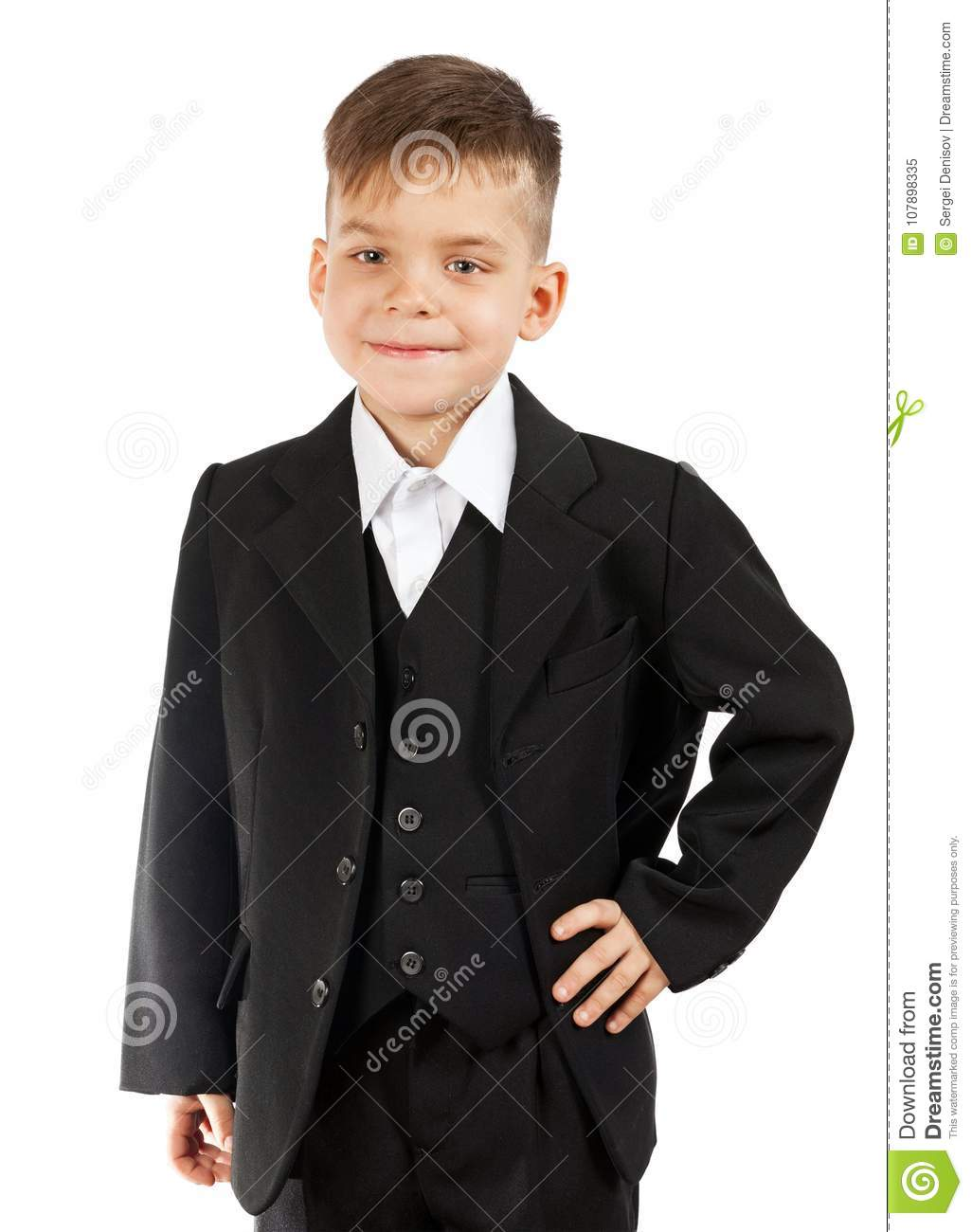 df580b87a Cute Little Boy In A White Shirt And Black Suit Stock Image - Image ...